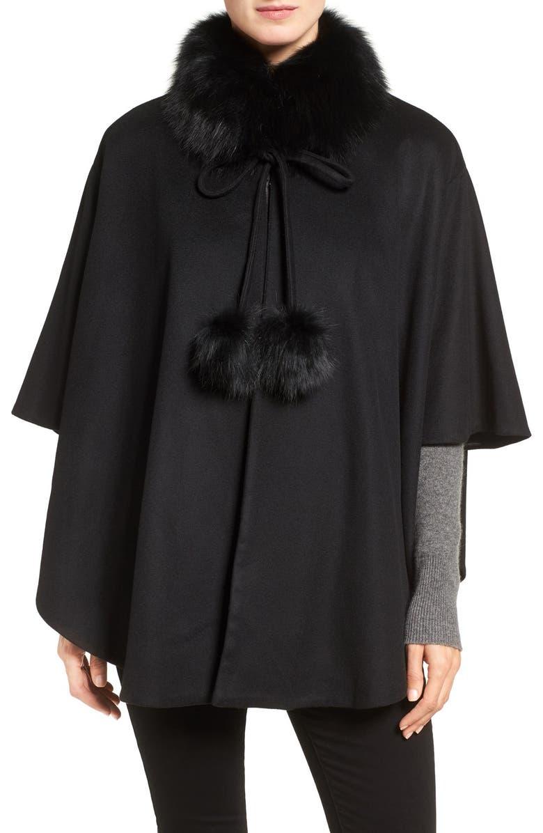 BELLE FARE Genuine Fox Fur Collar Cashmere Cape, Main, color, 001