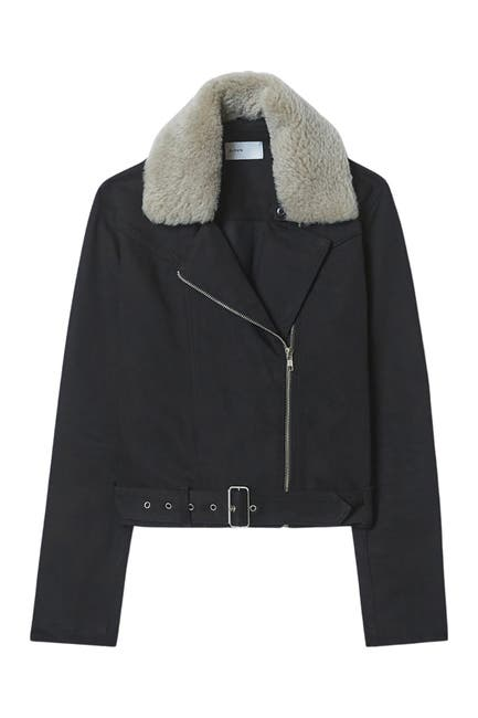 Image of BALDWIN Carey Faux Fur Collar Coat