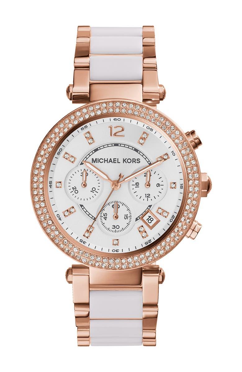 MICHAEL KORS 'Parker' Blush Acetate Link Chronograph Watch, 39mm, Main, color, 000