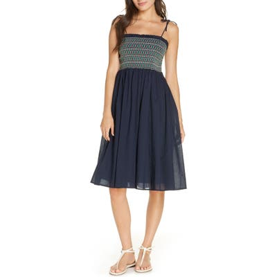 Tory Burch Convertible Smocked Cover-Up Dress, Blue