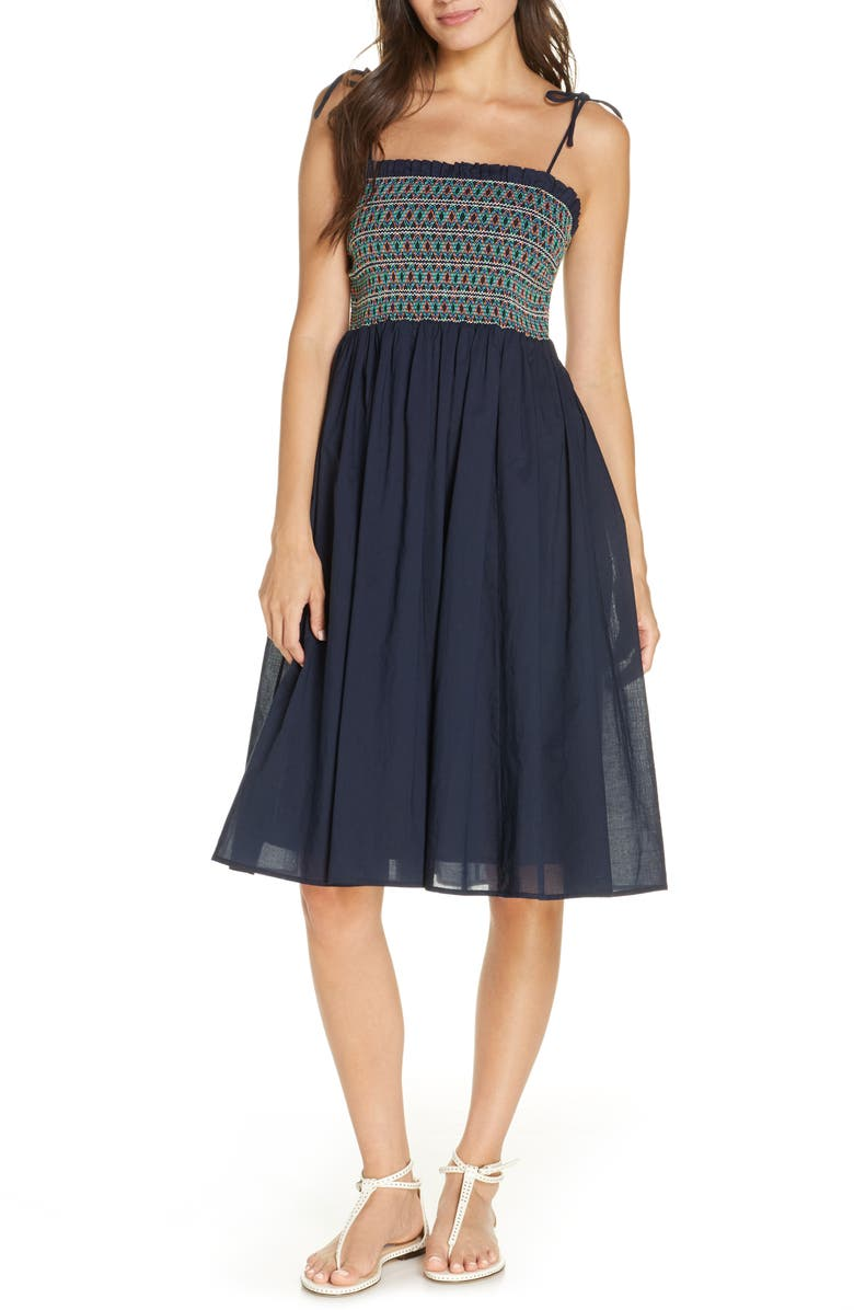 TORY BURCH Convertible Smocked Cover-Up Dress, Main, color, TORY NAVY