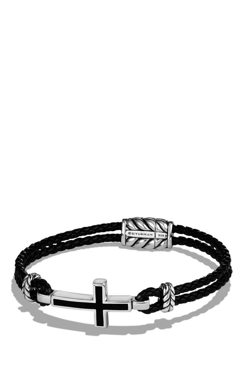 DAVID YURMAN 'Exotic Stone' Cross Station Leather Bracelet with Black Onyx, Main, color, 001