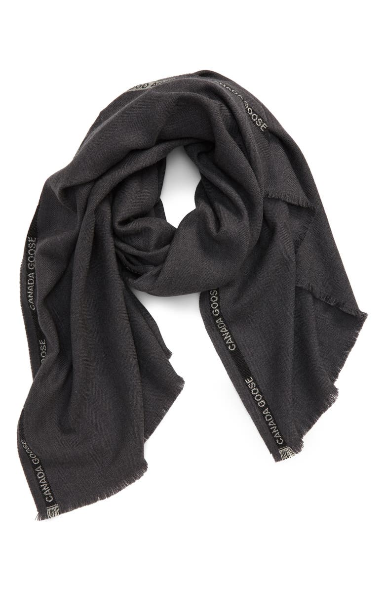 CANADA GOOSE Selvedge Merino Wool Scarf, Main, color, IRON GREY