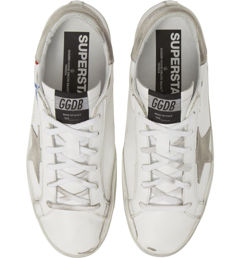 GOLDEN GOOSE Superstar Stripe Sneaker, Main, color, WHITE/ RED/ BLUE