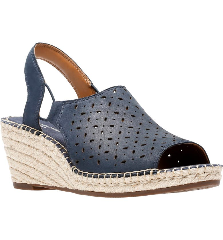 CLARKS<SUP>®</SUP> Petrina Gail Wedge Sandal, Main, color, NAVY NUBUCK