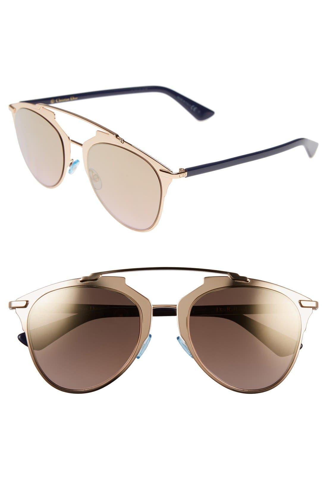 ,                             Reflected 52mm Brow Bar Sunglasses,                             Main thumbnail 33, color,                             711