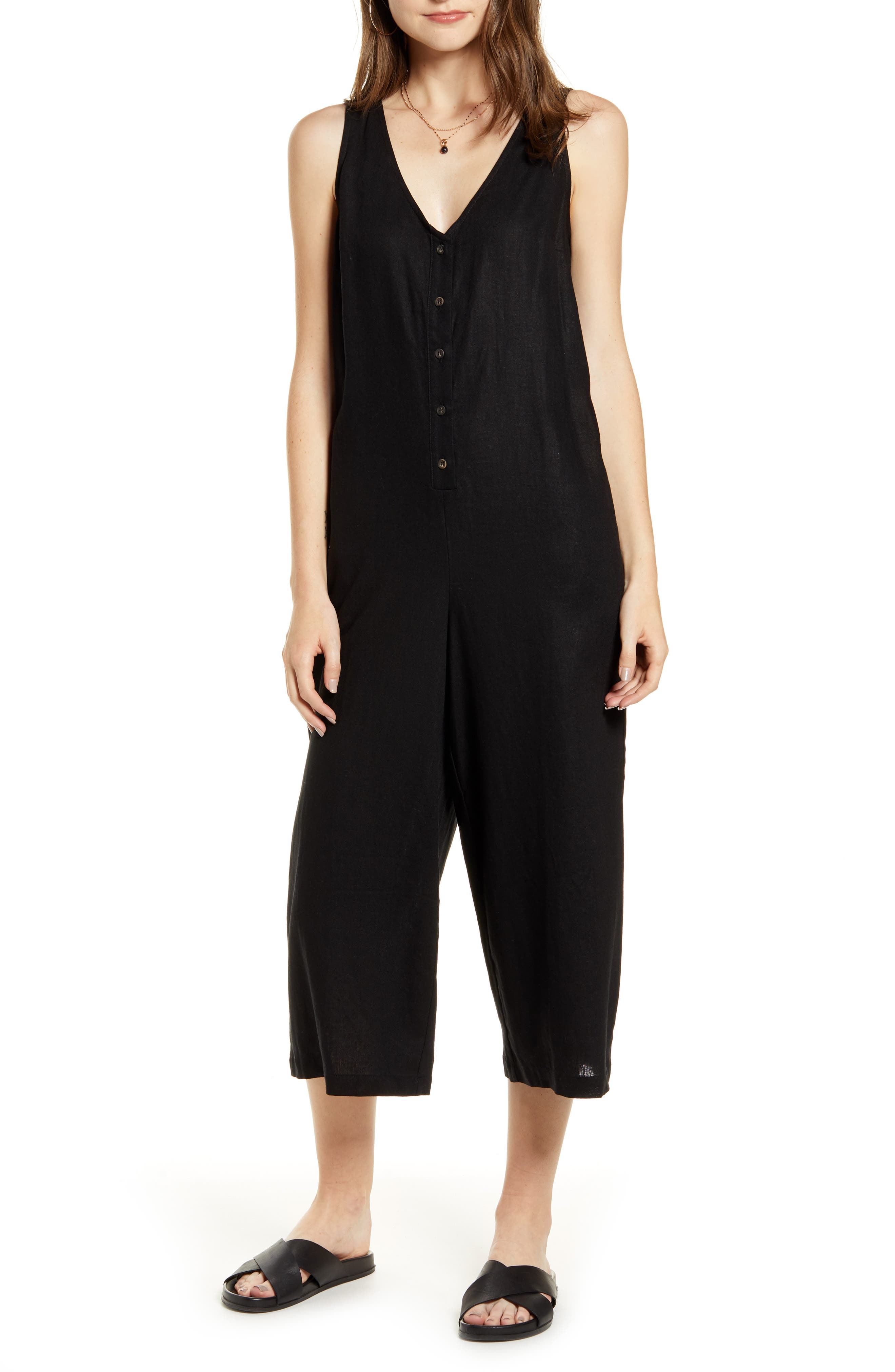 ,                             Button Front Jumpsuit,                             Main thumbnail 1, color,                             BLACK
