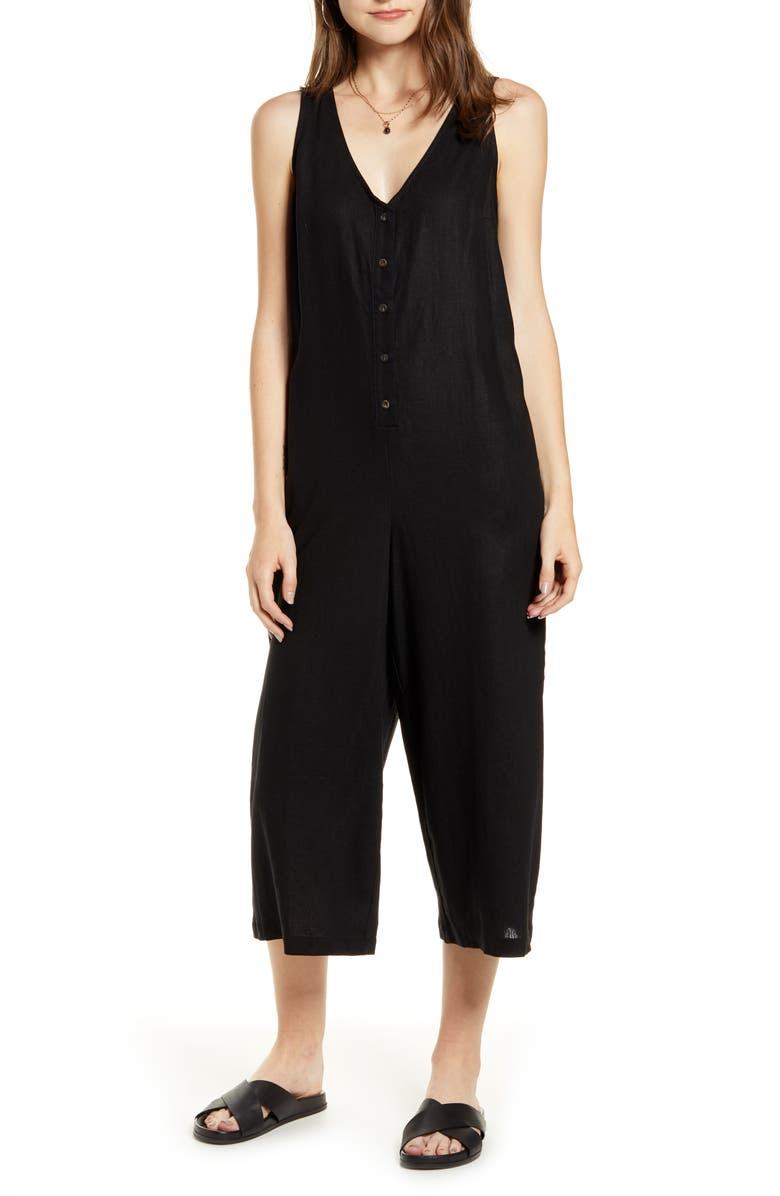 TREASURE & BOND Button Front Jumpsuit, Main, color, 001