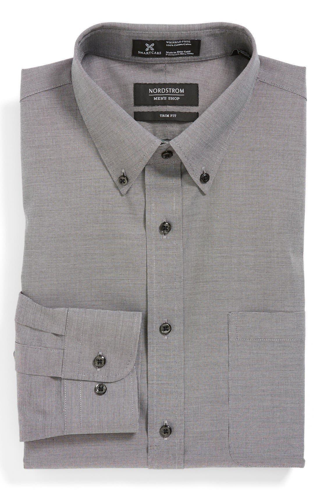 ,                             Smartcare<sup>™</sup> Trim Fit Solid Dress Shirt,                             Main thumbnail 5, color,                             001