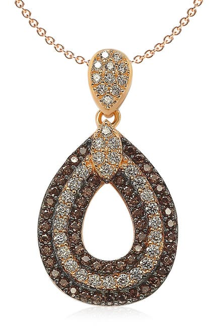 Image of Suzy Levian Pave CZ Teardrop Shape Pendant Necklace