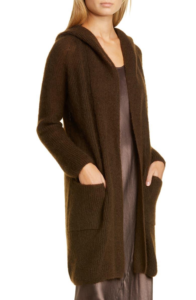 MAX MARA LEISURE Fronda Hooded Open Front Cardigan, Main, color, 200