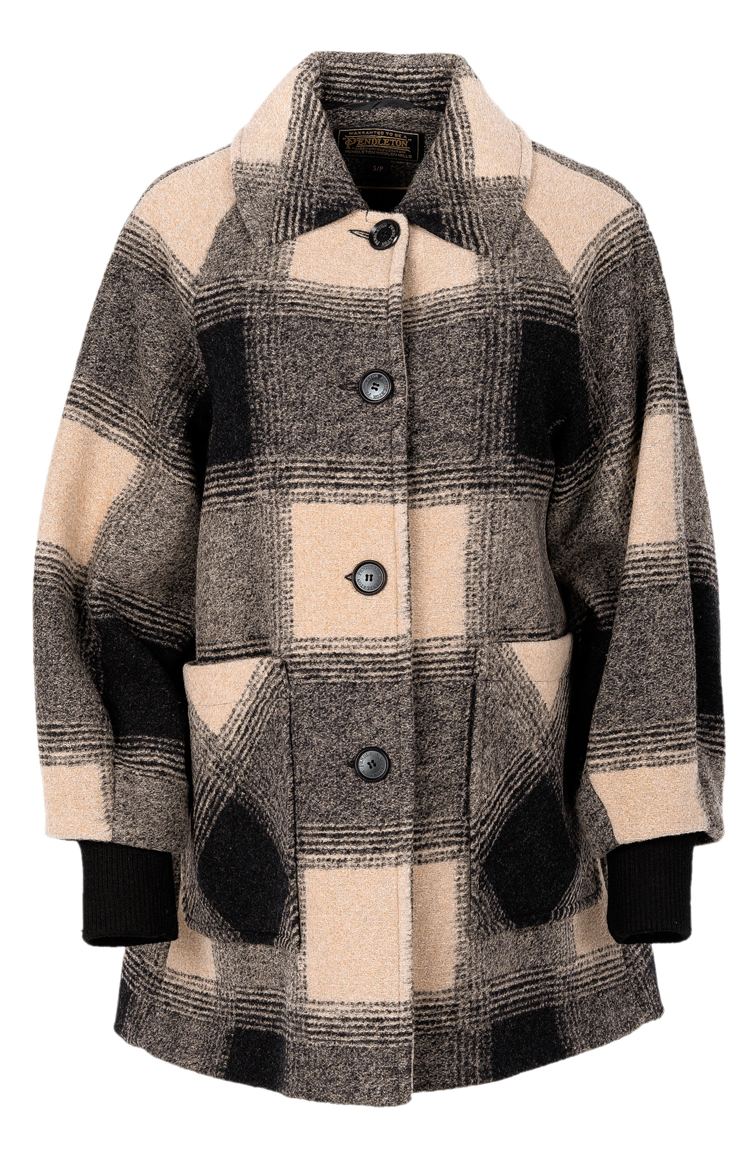 1950s Jackets, Coats, Bolero | Swing, Pin Up, Rockabilly Womens Pendleton Shorthills Raglan Wool Blend Coat $249.90 AT vintagedancer.com