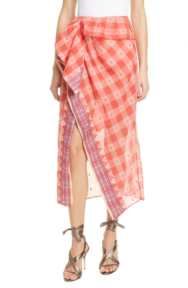 ULLA JOHNSON Merida Check Cotton Skirt, Main, color, 500