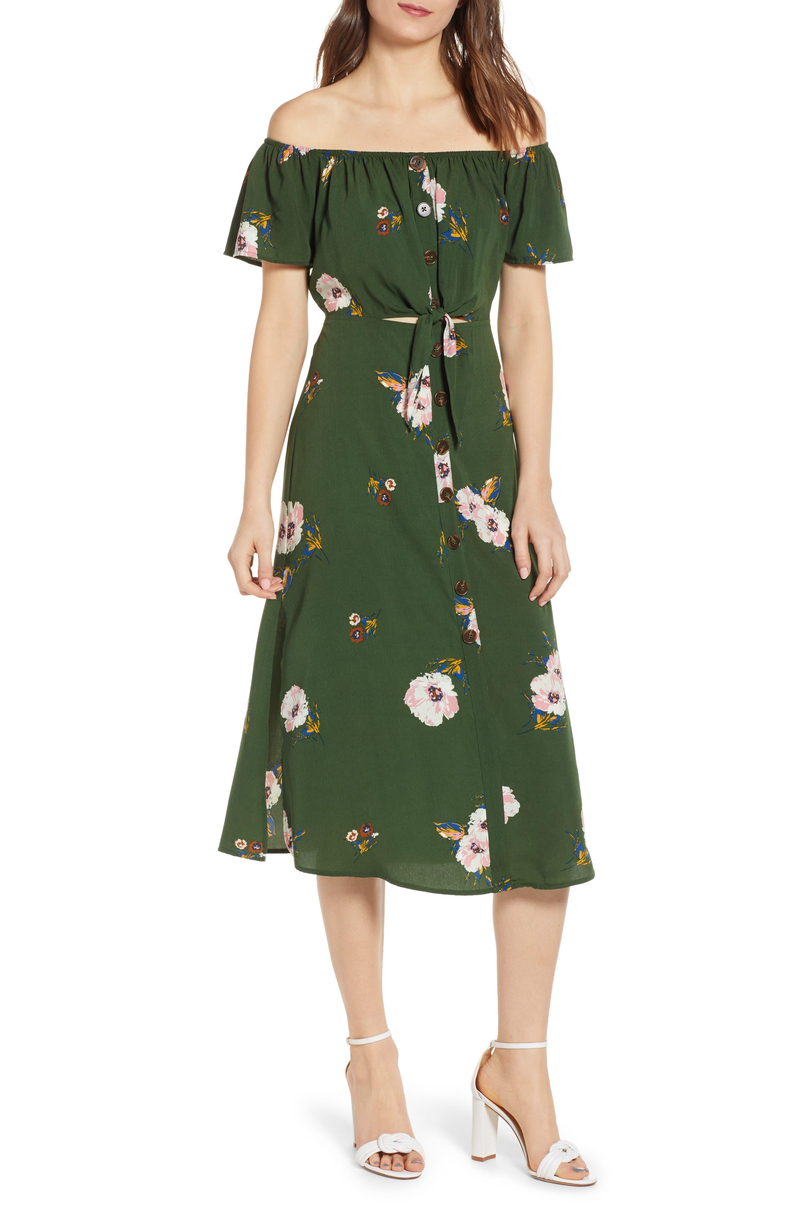 Row A Off The Shoulder Midi Dress, Green