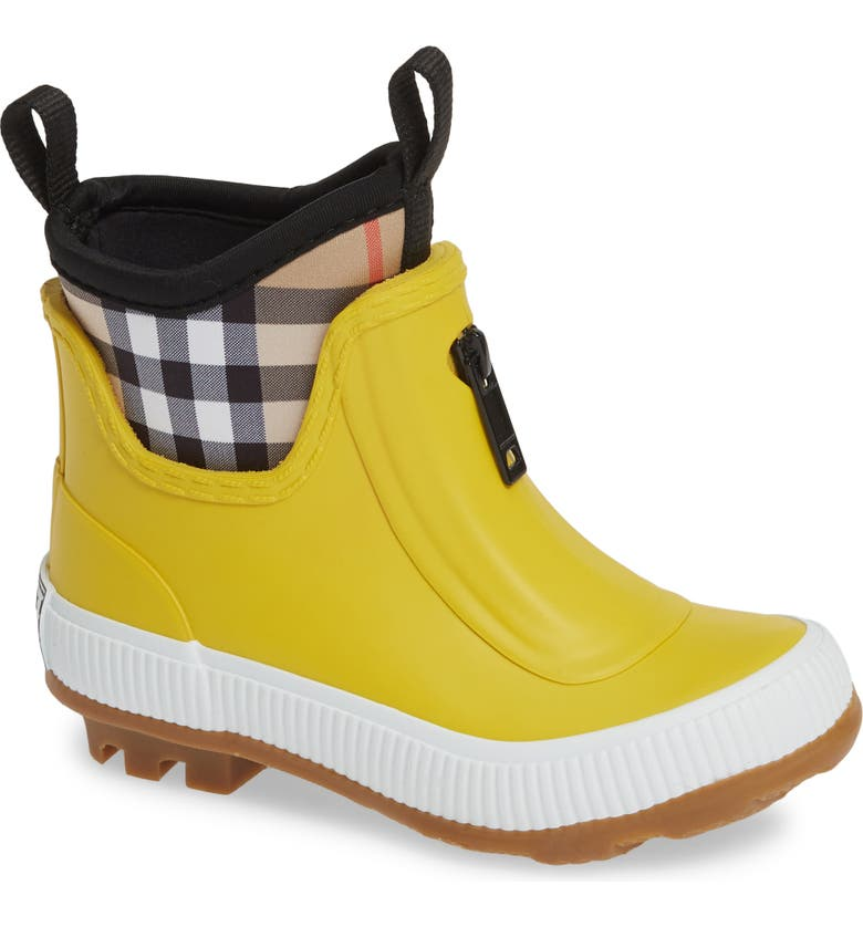 BURBERRY Flinton Rain Boot, Main, color, VIBRANT LEMON