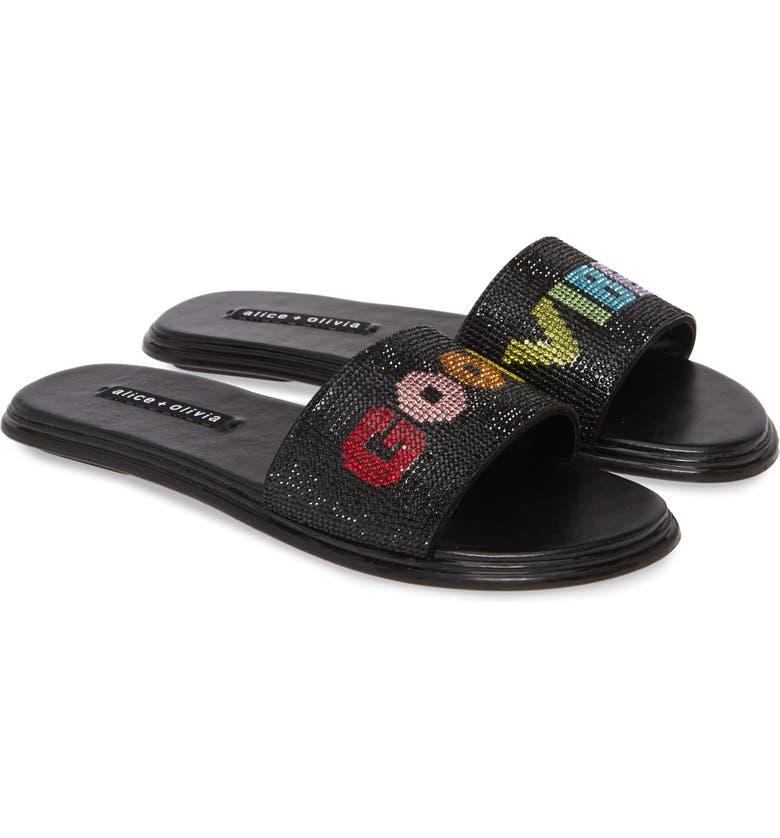 ALICE + OLIVIA Tatum Crystal Embellished Slide Sandal, Main, color, BLACK/ MULTI