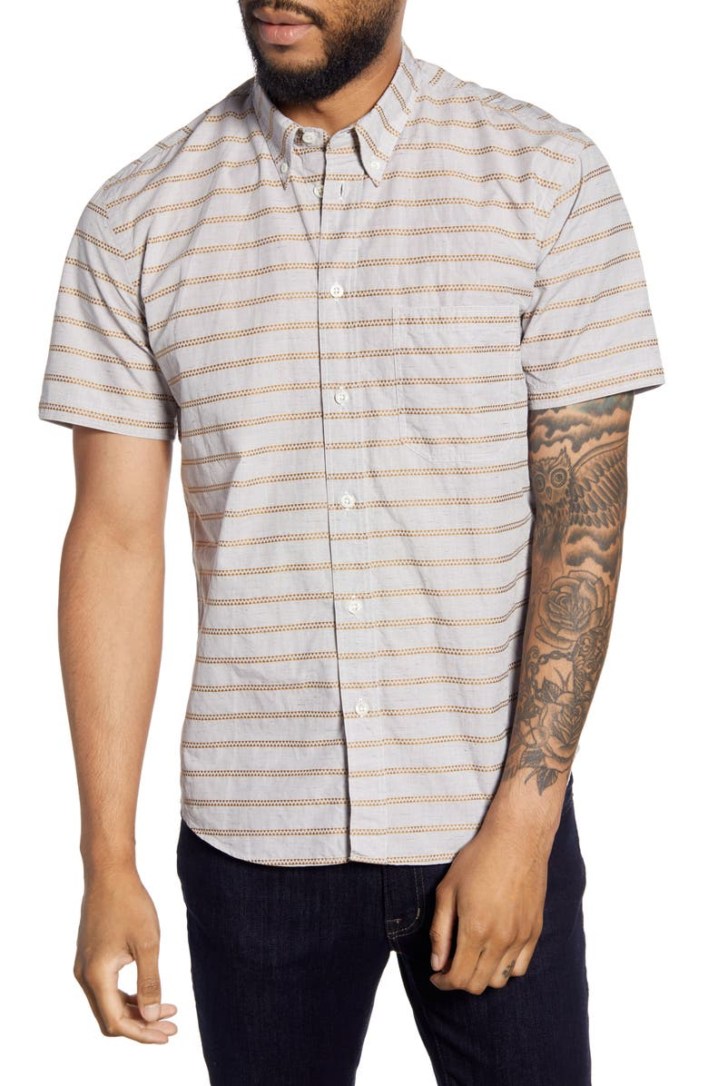 BILLY REID Tuscumbia Regular Fit Stripe Short Sleeve Button-Down Shirt, Main, color, CHARCOAL