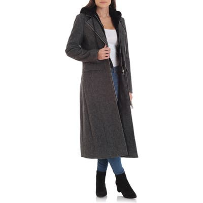 Avec Les Filles Moto Wool Blend Coat With Removable Hooded Bib, Black
