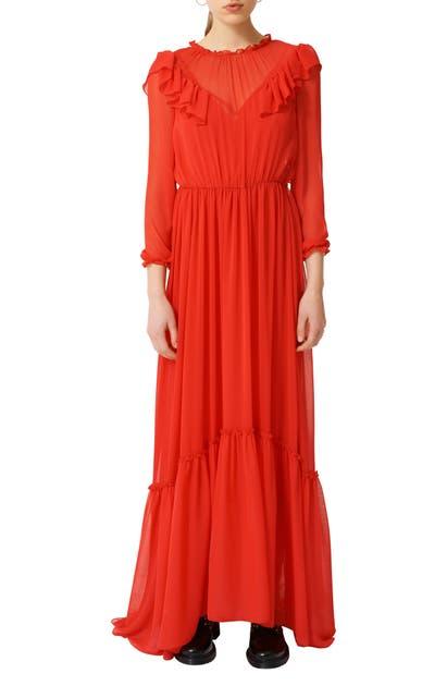 Maje Rachana Ruffled Maxi Dress In Red