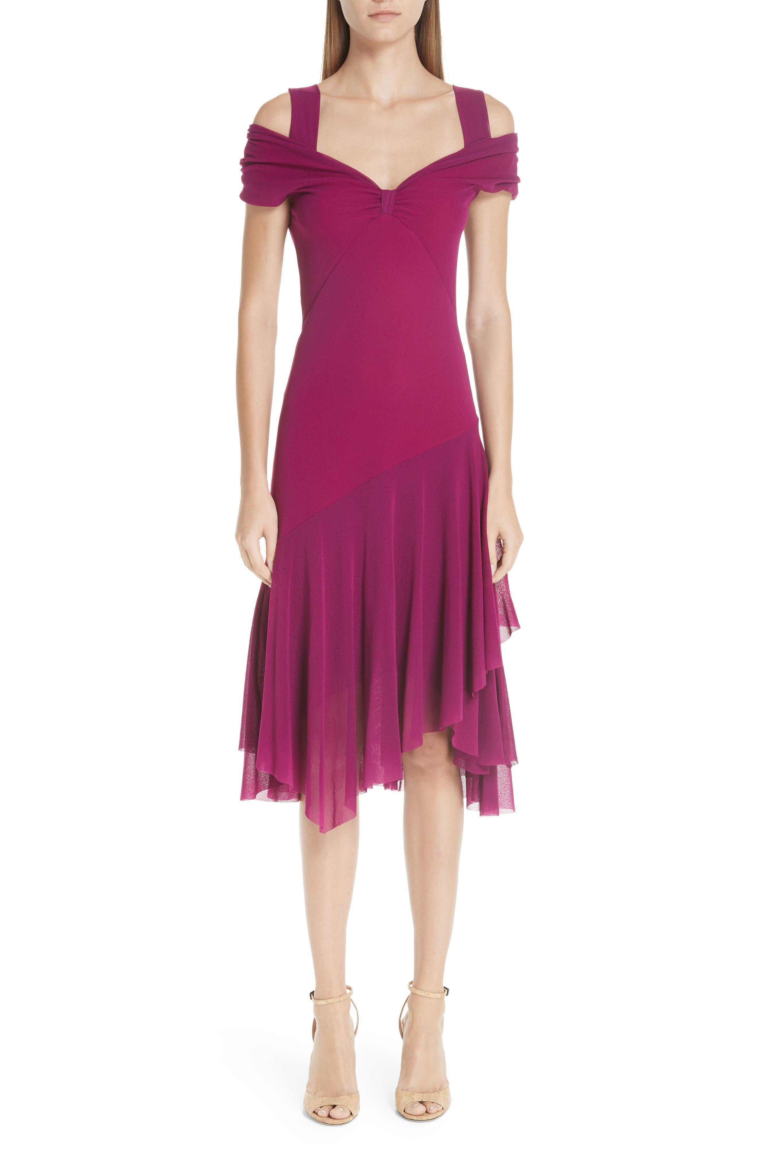 Fuzzi Ruffle Tulle Cold Shoulder Dress, Purple