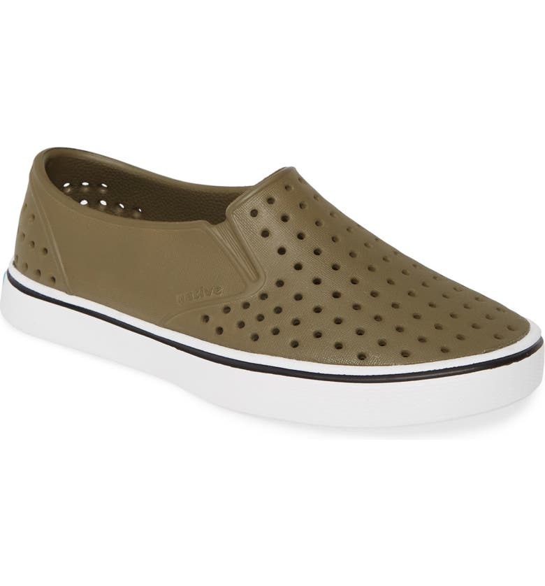 NATIVE SHOES Miles Water Friendly Slip-On Vegan Sneaker, Main, color, ULTI GREEN/ SHELL WHITE