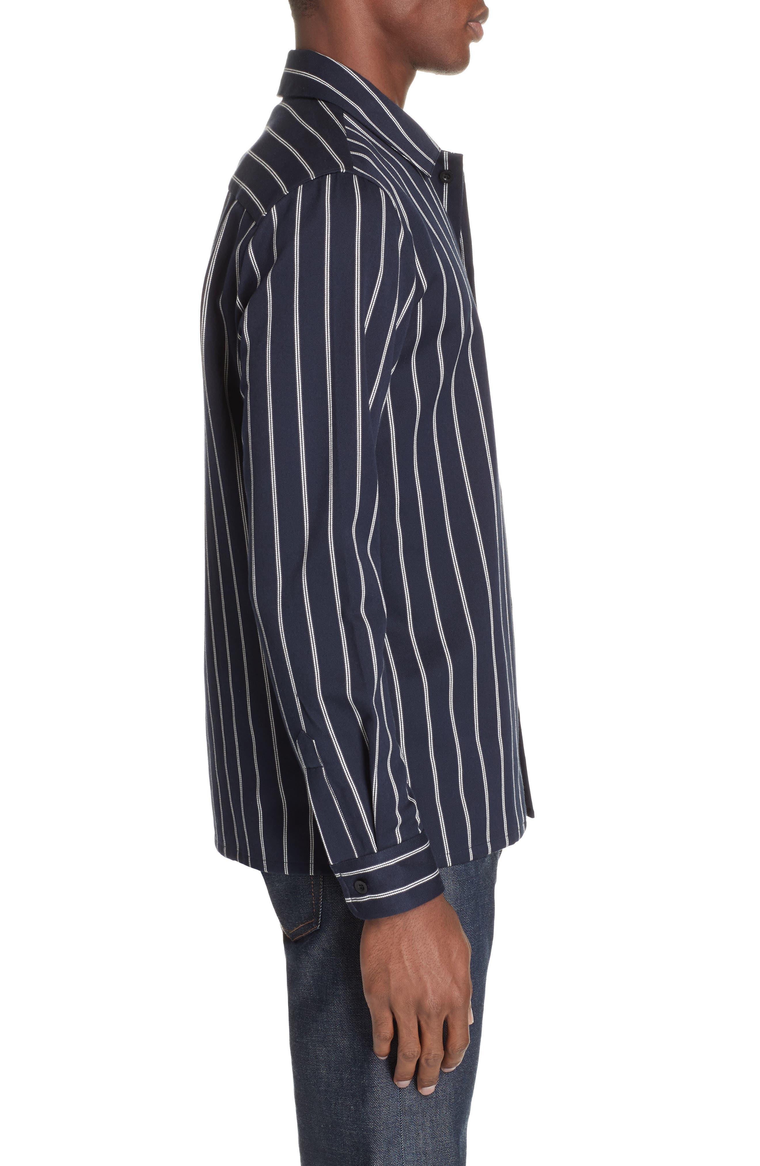 ,                             Mint Stripe Extra Slim Fit Sport Shirt,                             Alternate thumbnail 4, color,                             DARK NAVY