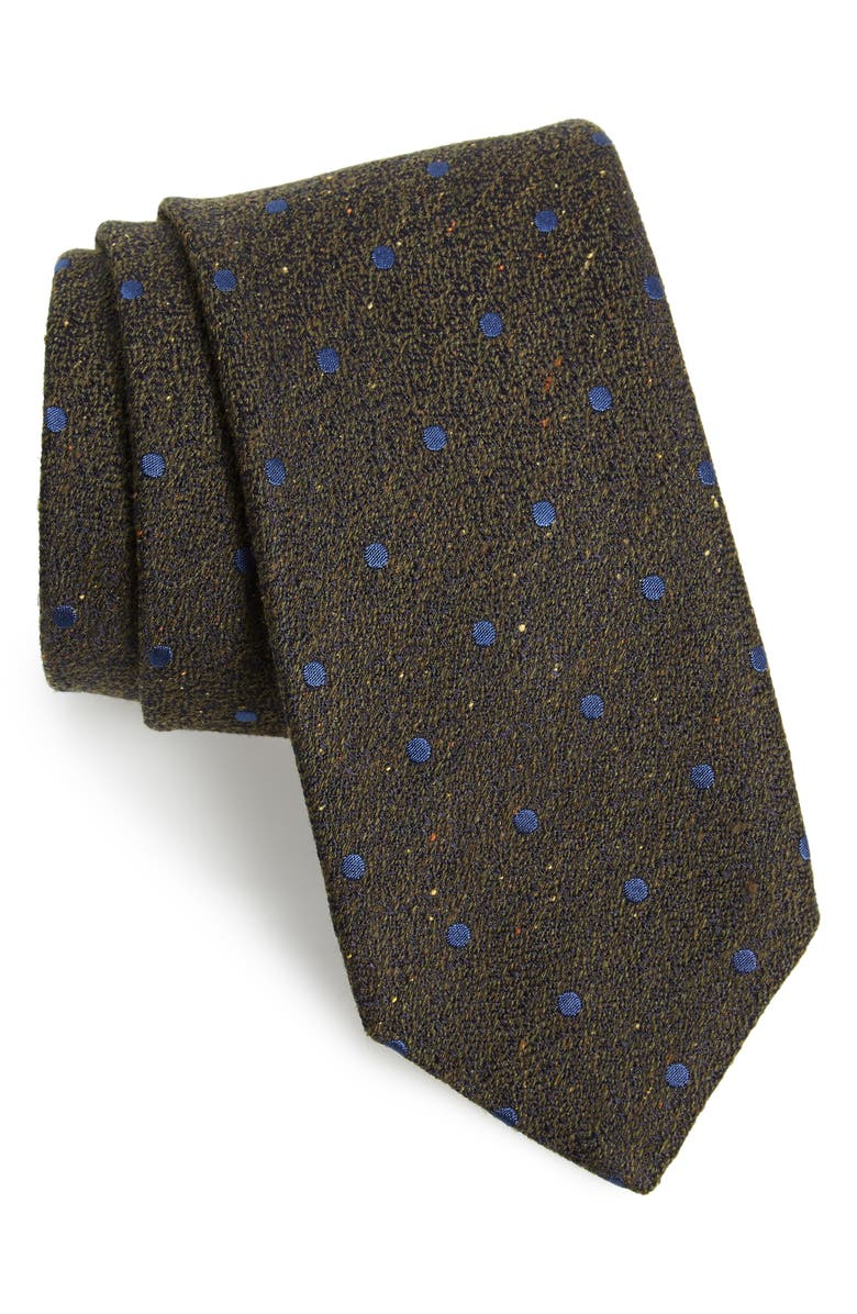 CANALI Dot Silk & Wool Tie, Main, color, BROWN
