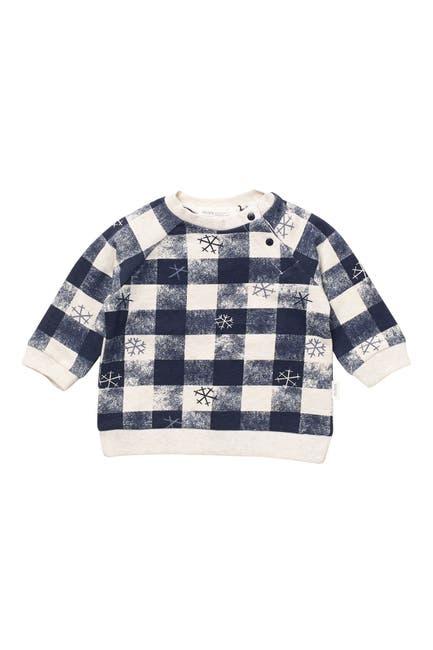 Image of MILES Knit Snowflake Check Print Sweatshirt
