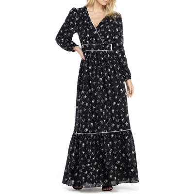 Gal Meets Glam Collection Ariana Floral Long Sleeve Chiffon Maxi Dress, Black