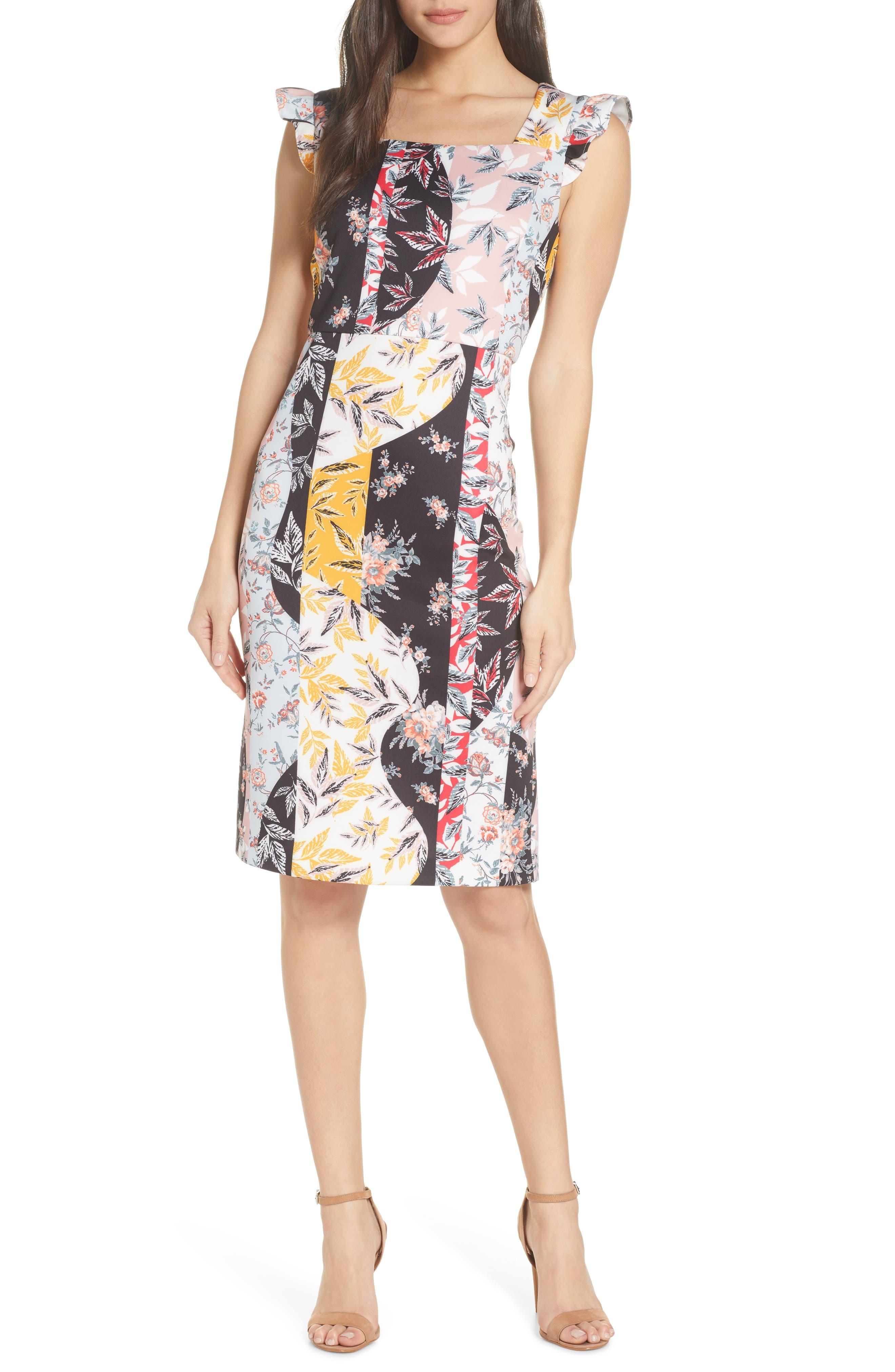 Sam Edelman Floral Print Scuba Sheath Dress, Ivory