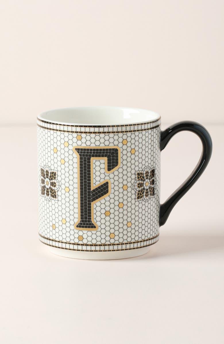 ANTHROPOLOGIE HOME Bistro Monogram Mug, Main, color, F
