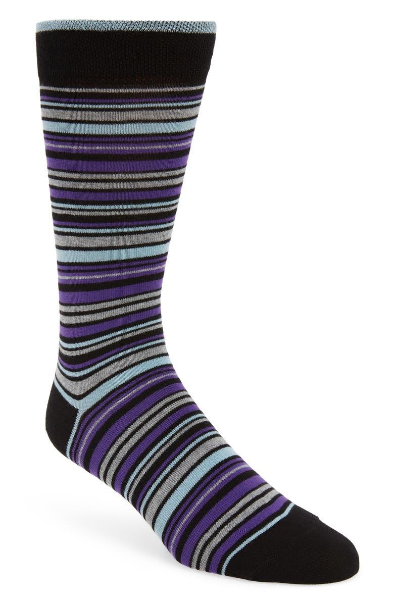 TED BAKER LONDON Holyhok Stripe Socks, Main, color, 001