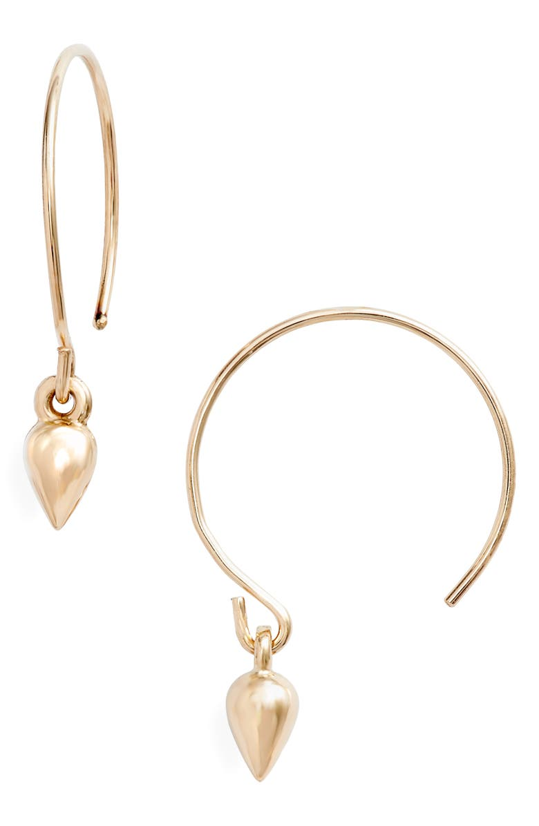 POPPY FINCH Baby Hoop Earrings, Main, color, YELLOW GOLD/ WHITE PEARL