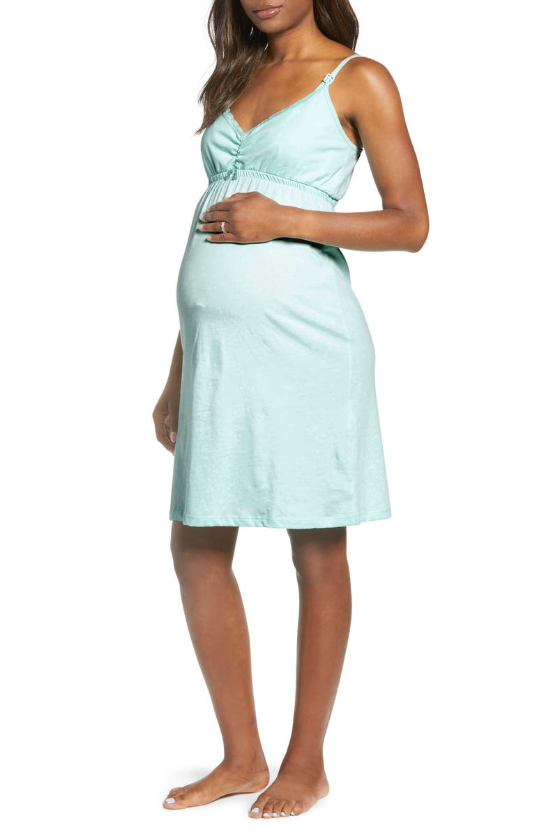 BELABUMBUM Lace Trim Maternity/Nursing Chemise, Main, color, AQUA