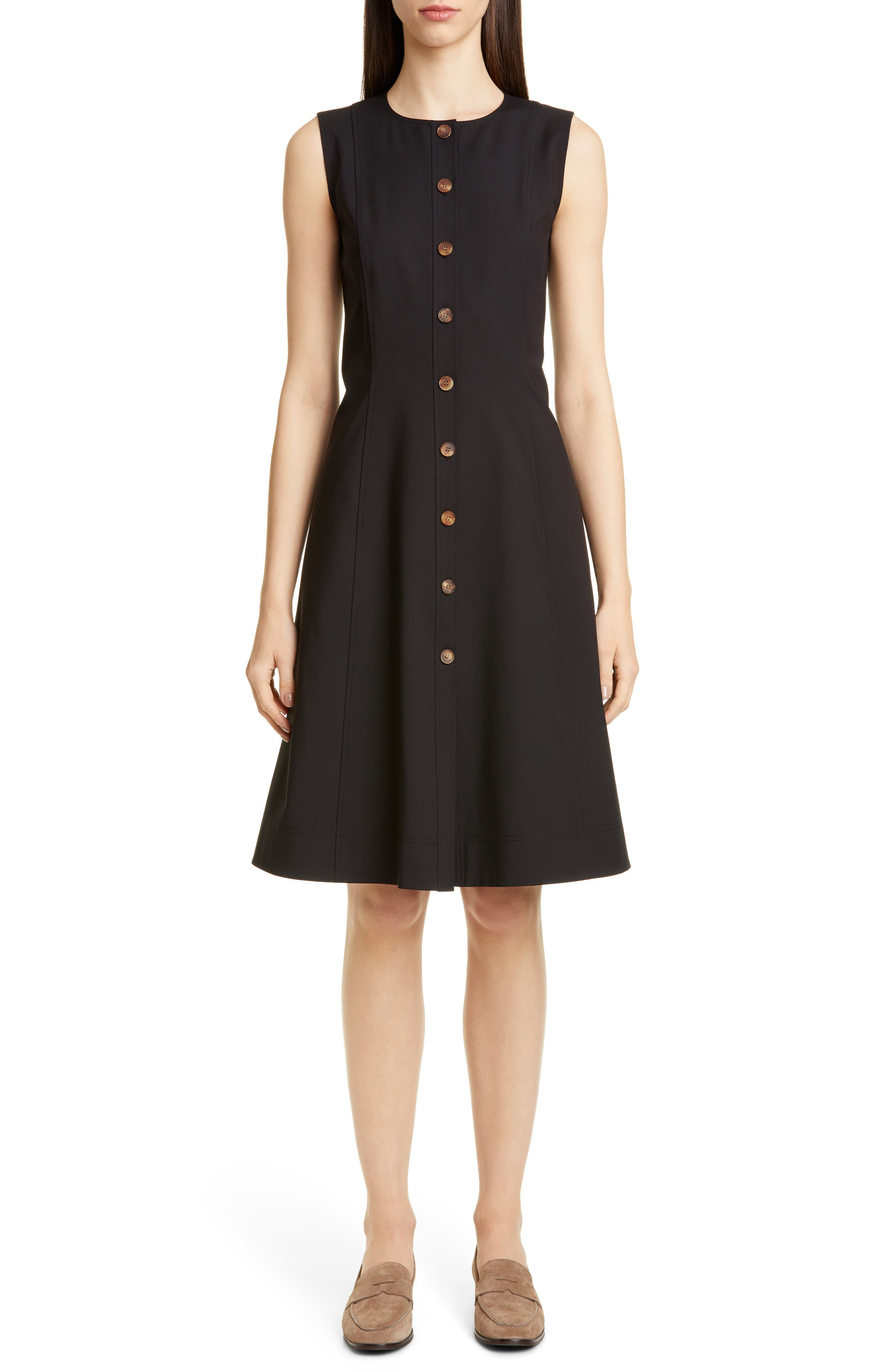 Lafayette 148 New York Fahey Sleeveless A-Line Dress, Black