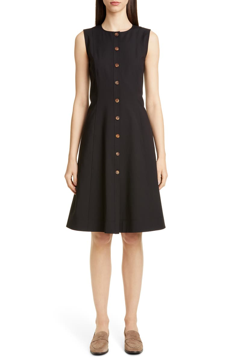 LAFAYETTE 148 NEW YORK Fahey Sleeveless A-Line Dress, Main, color, BLACK
