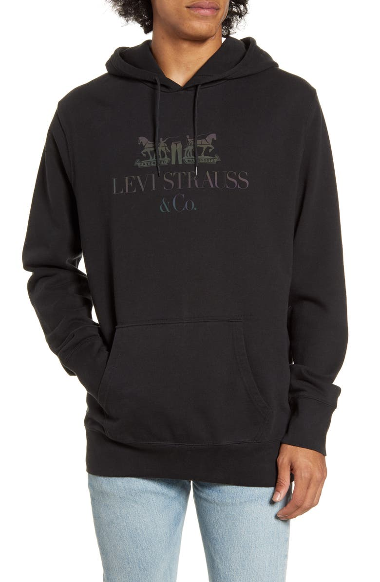 LEVI'S<SUP>®</SUP> Logo Graphic Hooded Sweatshirt, Main, color, 90S LOGO TEXT MINERAL BLACK