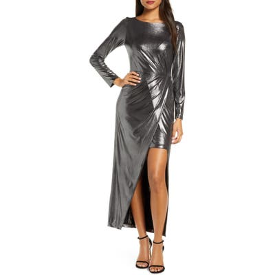 Julia Jordan Metallic Front Slit Long Sleeve Knit Maxi Dress, Metallic