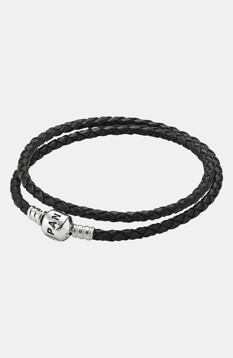 PANDORA Leather Wrap Charm Bracelet, Main, color, 001