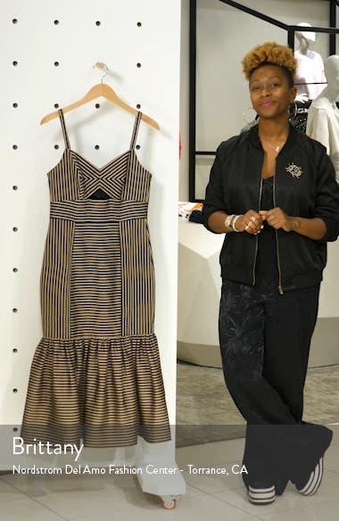 Rio Stripe Ruffle-Hem Midi Dress, sales video thumbnail