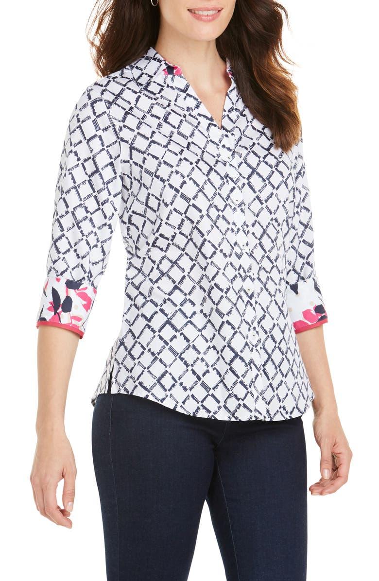 FOXCROFT Mary Diamond Lattice Wrinkle Free Shirt, Main, color, WHITE