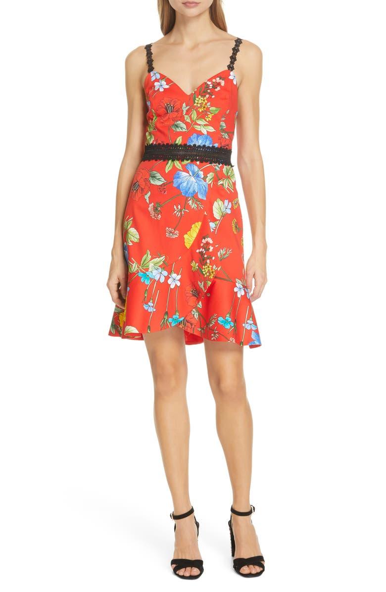 ALICE + OLIVIA Kirby Floral Tulip Hem Dress, Main, color, 600