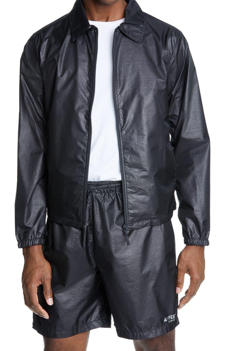 AFFIX Technical Nylon Coach's Jacket, Main, color, BLACK