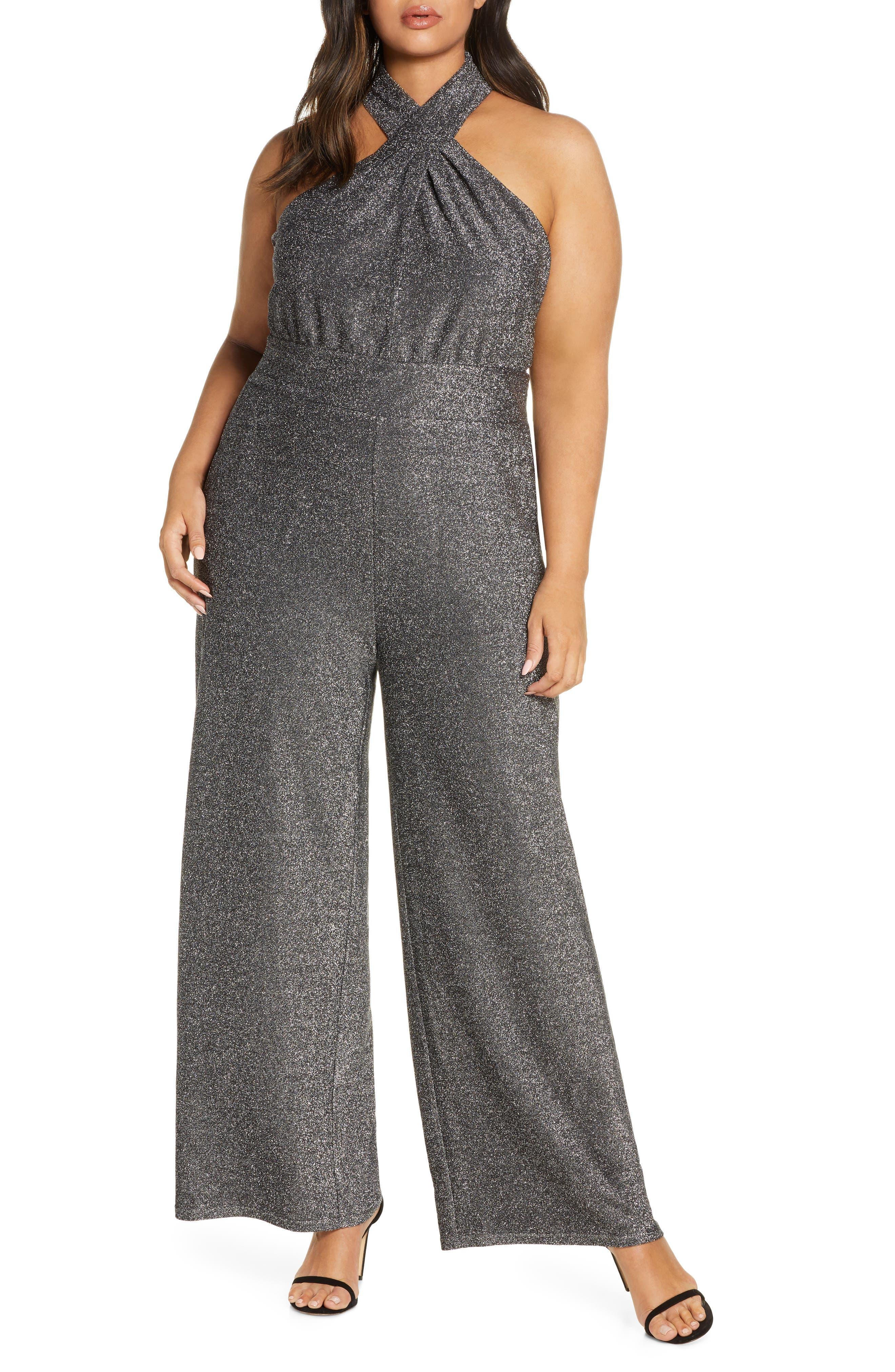 70s Jumpsuit   Disco Jumpsuits – Sequin, Striped, Gold, White, Black Plus Size Womens Michael Michael Kors Twist Neck Jumpsuit $155.00 AT vintagedancer.com