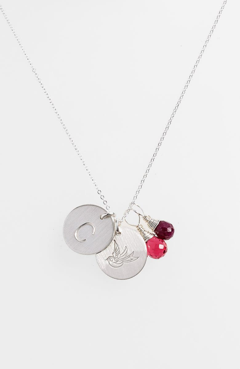 NASHELLE Ruby Quartz Initial & Swallow Sterling Silver Disc Necklace, Main, color, FUCHSIA AND RUBY C