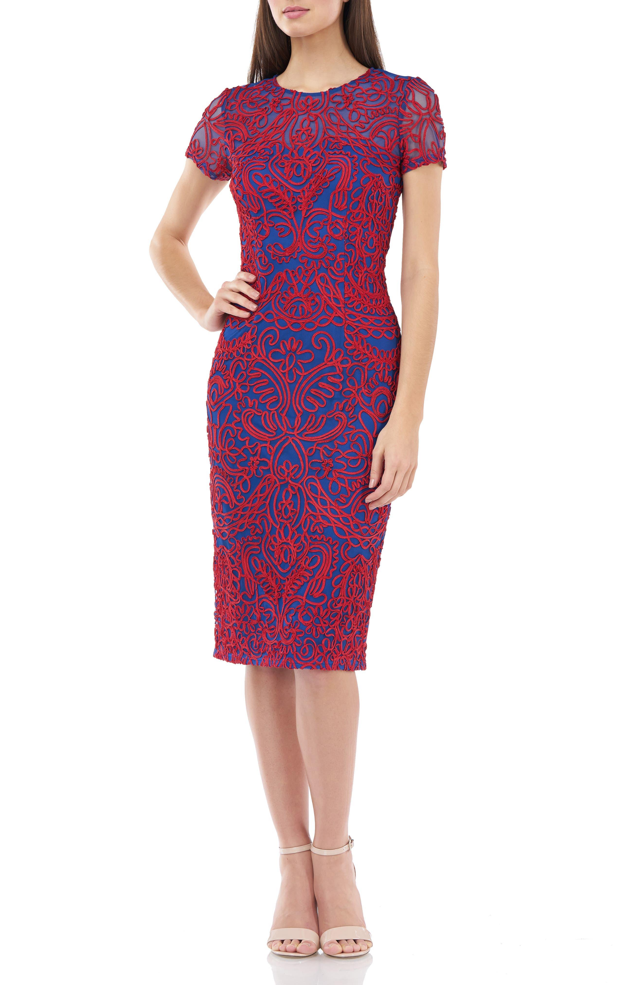 Js Collections Soutache Chiffon Cocktail Dress, Blue
