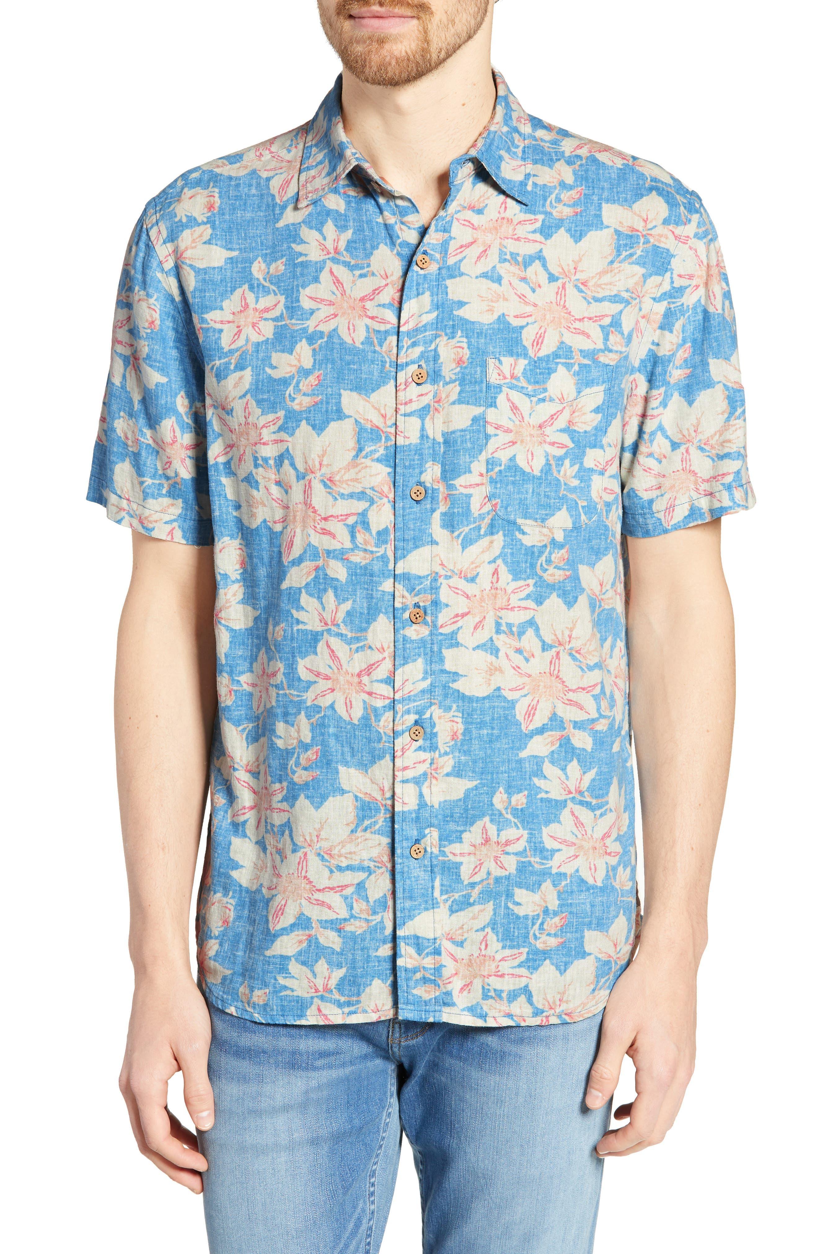 Faherty Coast Regular Fit Floral Reverse Print Sport Shirt, Blue