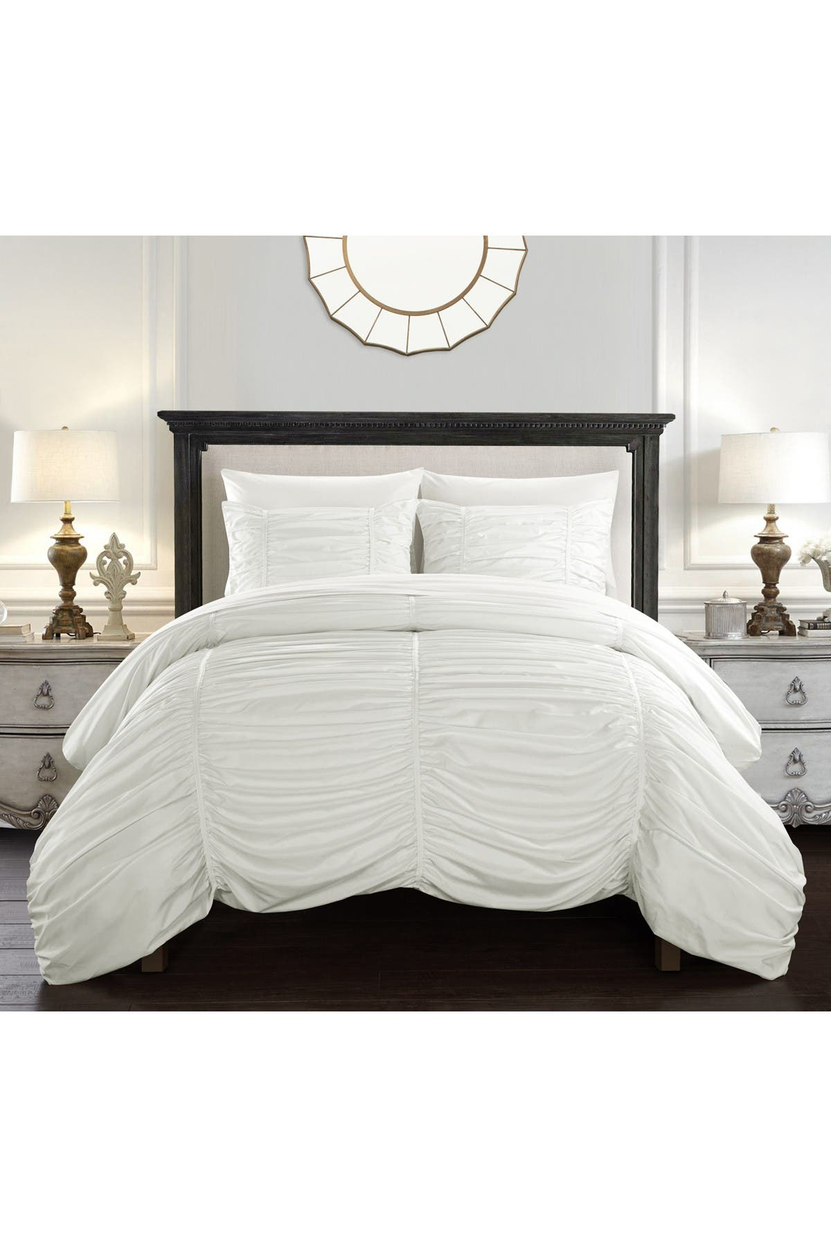 Image of Chic Home Bedding Kleia Contemporary Striped Ruched Ruffled Striped Pattern Design Queen 3-Piece Set - White