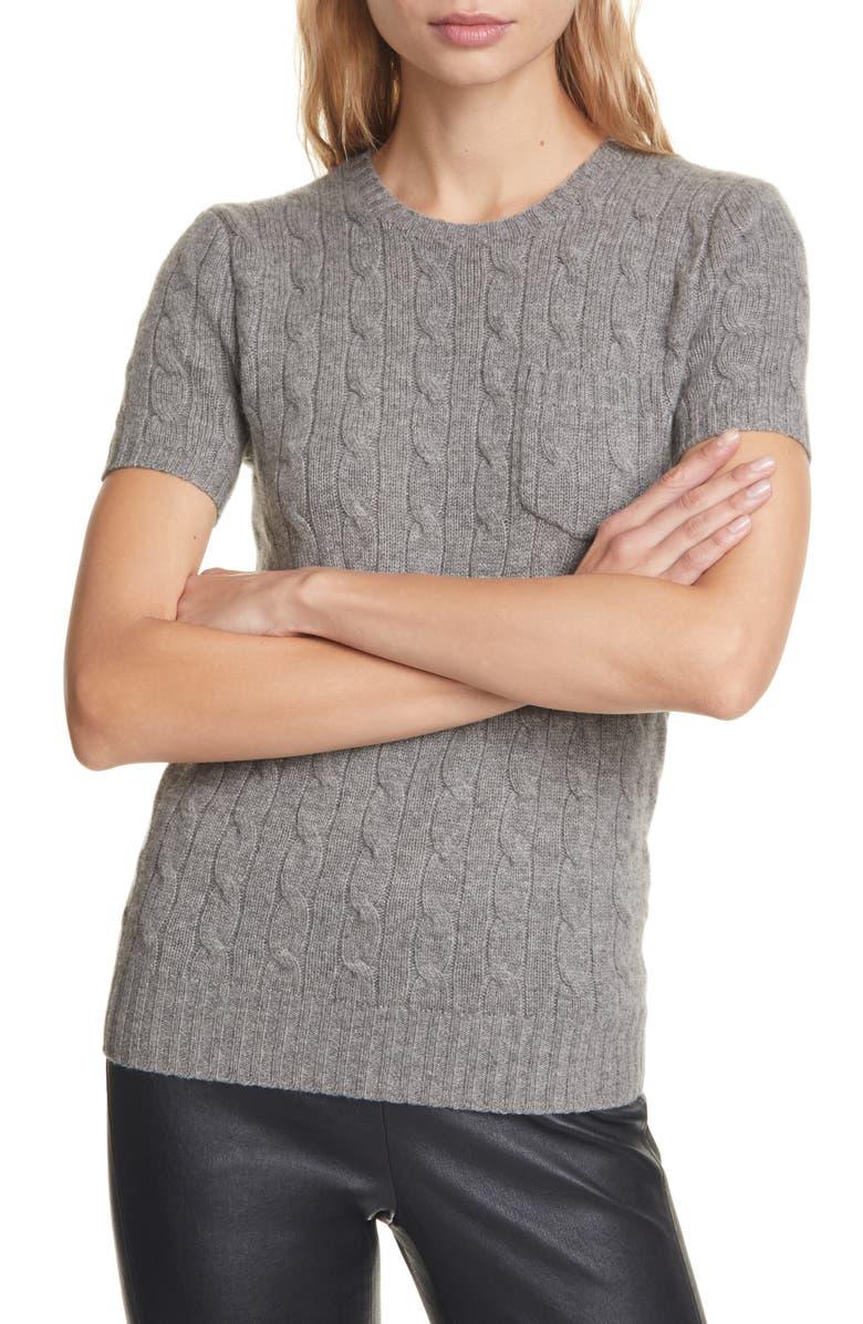 POLO RALPH LAUREN Short Sleeve Cable Cashmere Sweater, Main, color, BATTALION GREY HEATHER