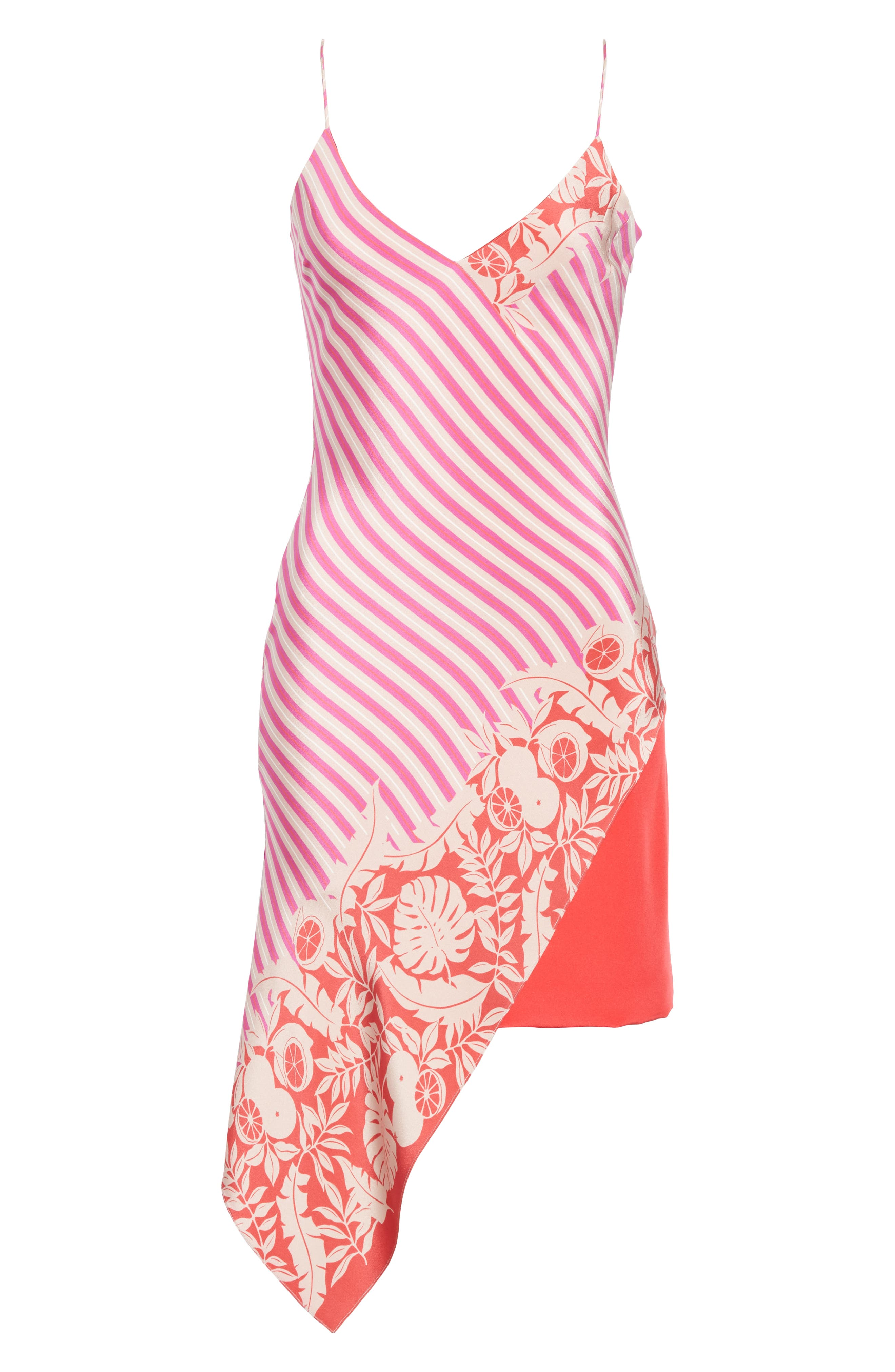 ,                             Asymmetrical Silk Minidress,                             Alternate thumbnail 7, color,                             TROPICAL STRIPE BORDER